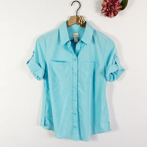 [CHICO'S] Button Front Roll Tab Collared Shirt